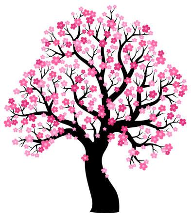 dibujo: Silueta de árbol que florece el tema 1 - ilustración vectorial eps10.