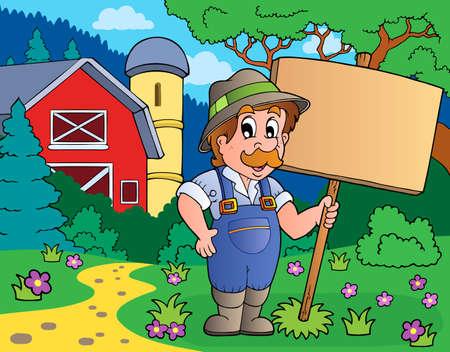 farmstead: Farmer with sign near farm - eps10 vector illustration.