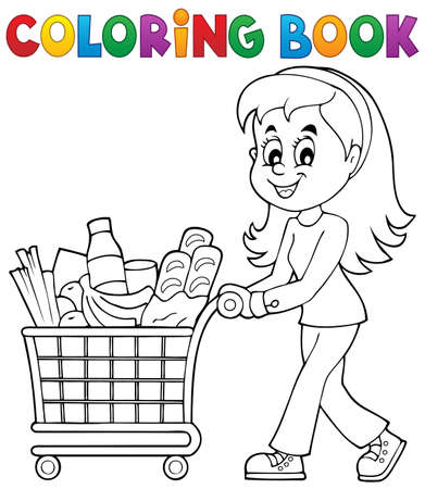 cart: Coloring book woman with shopping cart - eps10 vector illustration.