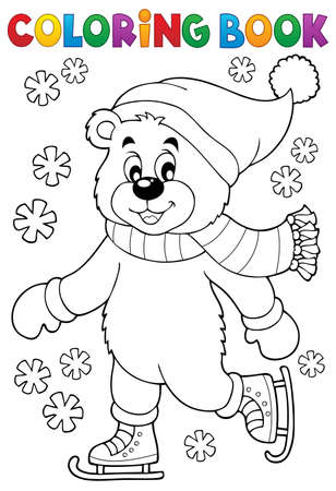 neckscarf: Coloring book ice skating bear - eps10 vector illustration. Illustration