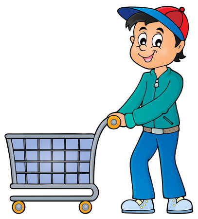 Man with empty shopping cart - eps10 vector illustration.
