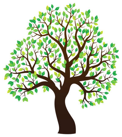 stylized: Silhouette of leafy tree theme 1 - eps10 vector illustration.
