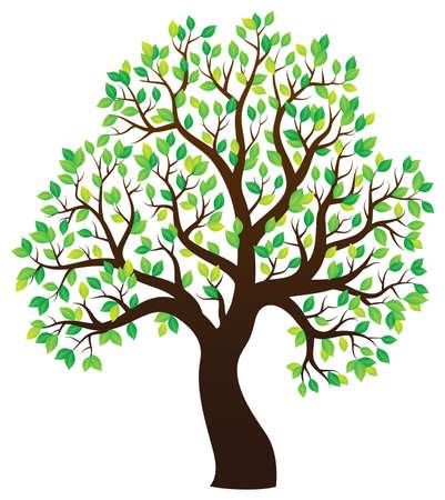 arboles frondosos: Silueta de árbol frondoso tema 1 - ilustración vectorial eps10.