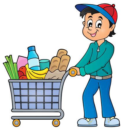carretilla de mano: Hombre con plena cesta de la compra - ilustración vectorial eps10. Vectores