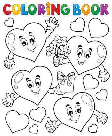 outline flower: Coloring book stylized hearts theme 1 - eps10 vector illustration. Illustration