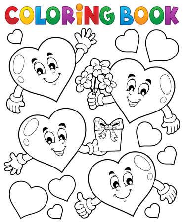 Kolorowanka stylizowane serca temat 1 - ilustracji wektorowych eps10.