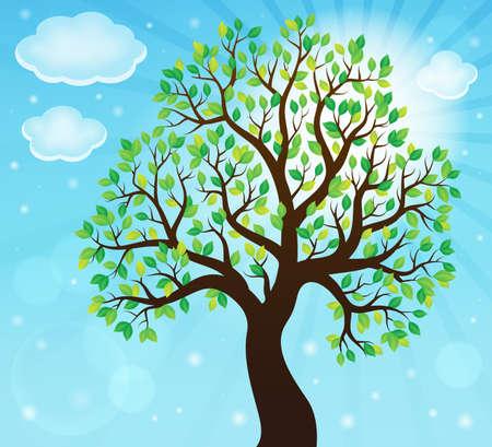 leafy: Silhouette of leafy tree theme 2 - eps10 vector illustration. Illustration