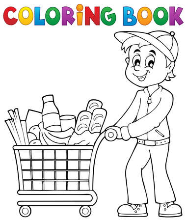 product cart: Coloring book man with shopping cart - eps10 vector illustration.