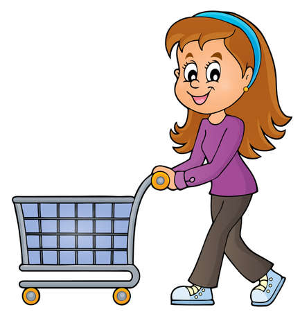woman shopping cart: Woman with empty shopping cart - eps10 vector illustration.