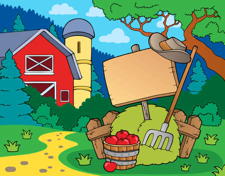 rural wooden bucket: Farm theme with sign - eps10 vector illustration.