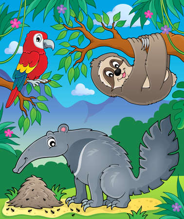 anthill: Animals in jungle topic image 1 -  vector illustration.