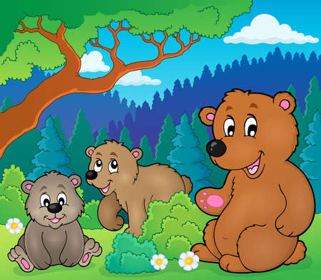 theme: Bears in nature theme image 1 -  vector illustration.