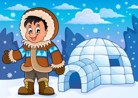Inuit afbeelding thema 2 - vector illustratie. Vector Illustratie