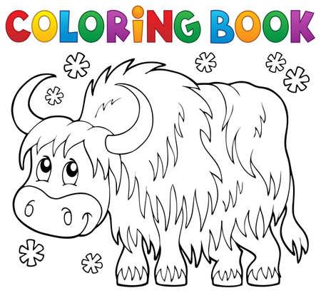 yak: Coloring book yak theme 1 -  vector illustration.