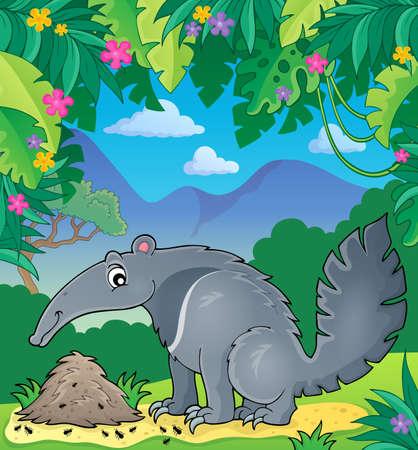 anthill: Anteater theme image 2 -  vector illustration.
