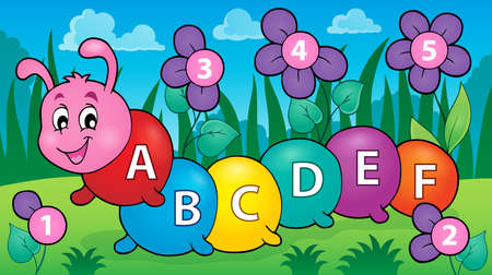 educative: Happy caterpillar with letters theme 3 -  vector illustration.
