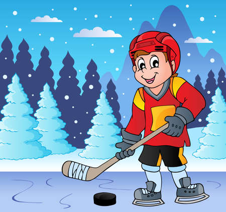 ice hockey player: Ice hockey player on frozen lake -  vector illustration.