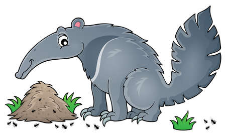 anthill: Anteater theme image 1 -  vector illustration.