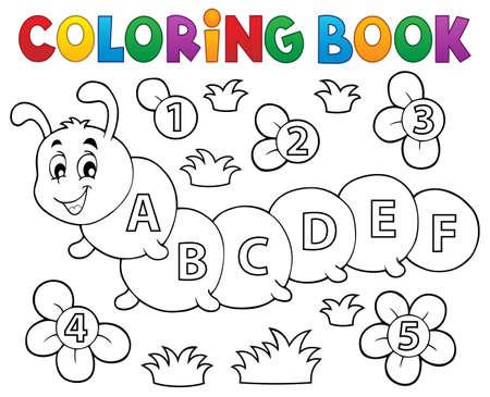 dessin fleur: Coloriage livre chenille avec des lettres - illustration vectorielle.