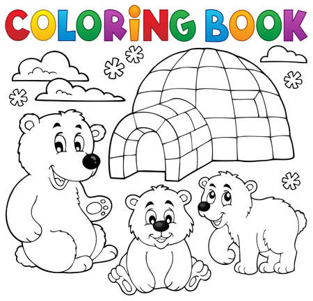 Coloring book with polar theme 1 -  vector illustration. Иллюстрация