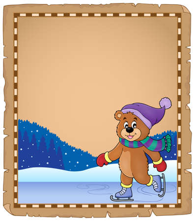 neckscarf: Parchment with ice skating bear -  vector illustration.