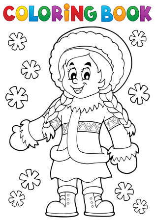 inuit: Coloring book Inuit thematics 2 - eps10 vector illustration.