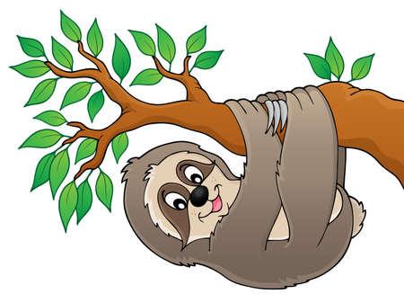 oso perezoso: La pereza de la imagen el tema rama 1 - ilustración vectorial.