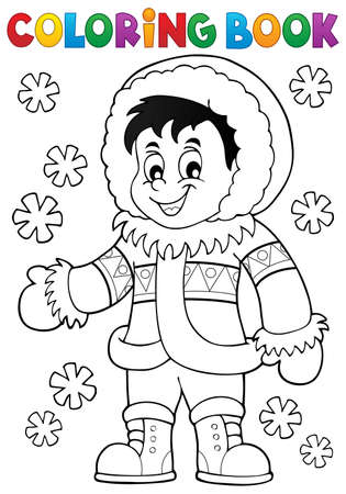 inuit: Coloring book Inuit thematics 1 -  vector illustration.