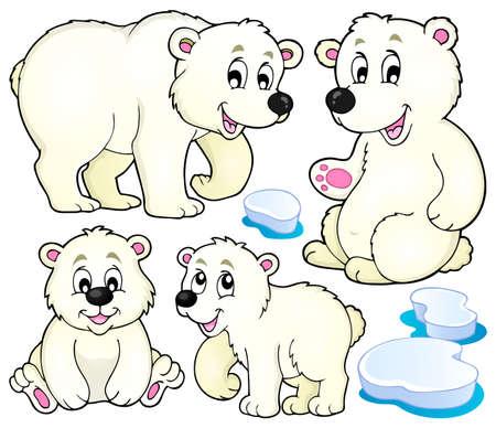 Polar bears theme collection 1 - vector illustration.