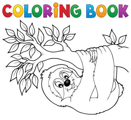 oso perezoso: Libro para colorear la pereza en la rama - ilustraci�n vectorial.
