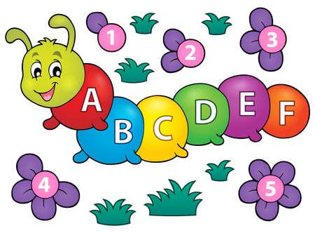 dessin fleur: caterpillar Heureux avec des lettres th�me 1 - illustration vectorielle.