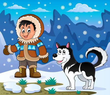 inuit: Inuit boy with Husky dog - eps10 vector illustration.