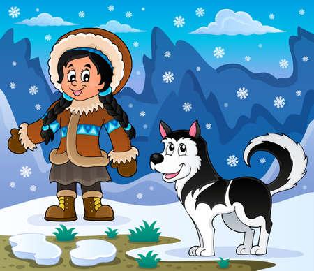 the inuit: Inuit girl with Husky dog - eps10 vector illustration. Illustration