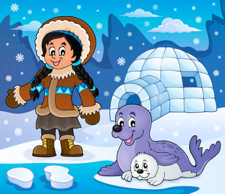 the inuit: Arctic theme image 6 - eps10 vector illustration.