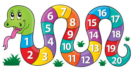 Snake with numbers theme image 1 - eps10 vector illustration. Çizim