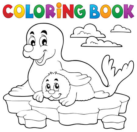 pup: Coloring book happy seal with pup - eps10 vector illustration. Illustration