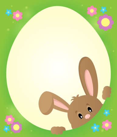 egg shaped: Egg shaped frame with lurking bunny 2 - eps10 vector illustration. Illustration