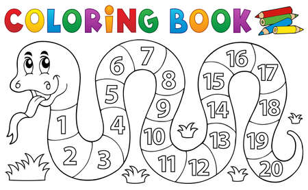 number of animals: Coloring book snake with numbers theme - eps10 vector illustration.