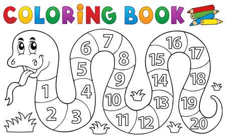 Kleurboek slang met nummers thema - vectorillustratie eps10.