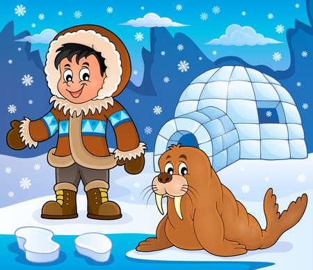 the inuit: Arctic theme image 3 - eps10 vector illustration. Illustration