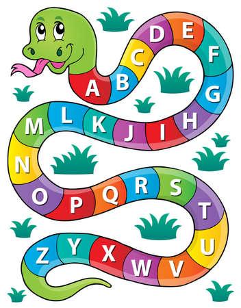 Snake z obrazem motywu alfabetu 1 - eps10 ilustracji wektorowych.