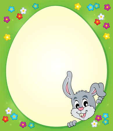 egg shaped: Egg shaped frame with lurking bunny 1 - eps10 vector illustration.