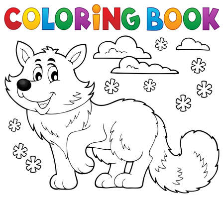 animal themes: Coloring book polar fox theme 1 - eps10 vector illustration. Illustration