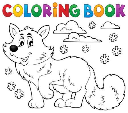 Coloring book polar fox theme 1 - eps10 vector illustration.