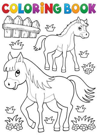 Cavallo colorazione libro con puledro tema 1 - illustrazione vettoriale eps10.