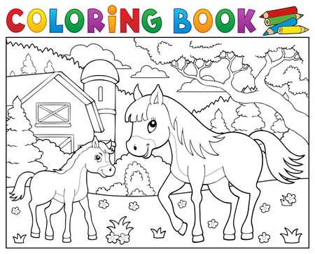 子馬のテーマ 2 - eps10 ベクトル イラスト本馬を着色します。