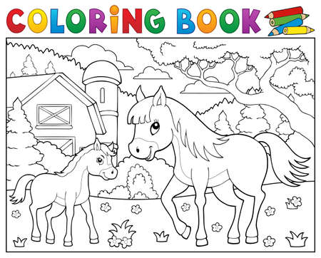 Coloring book horse with foal theme 2 - eps10 vector illustration.