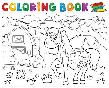 Coloring book horse near farm theme 1 - eps10 vector illustration.