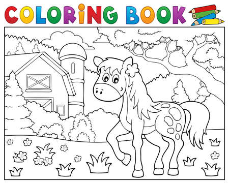 Coloring book horse near farm theme 1 - eps10 vector illustration.