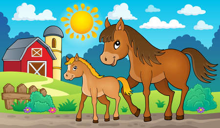 ungulate: Horse with foal theme image 2 - eps10 vector illustration.